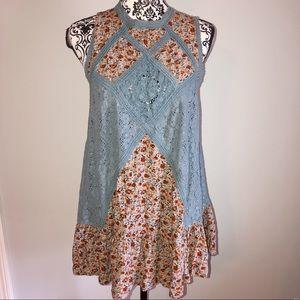 Umgee Medium Blue Floral Crochet Tank Top